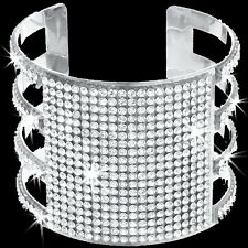 GOLD OR SILVER Pave Set Crystal Cz BLING Tennis Cuff Statement Bangle Bracelet