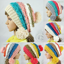 Fashion Lady Girl Winter Ski Cap Knit Wool Warm Hat Colorful Baggy Beanies 3Pom
