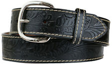 Big & Tall Men's Western Leather Belt BLACK Cowboy Style Sizes 34 - 60