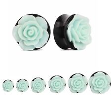 Acrylic Green Rose Flower Flared Ear Gauges Ear Plugs Tunnels Expanders Earlets