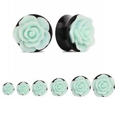 Acrylic Green Rose Flower Flesh Ear Plug Tunnel Ear Expander Earrings Gauges
