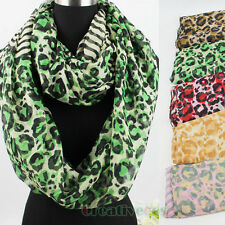 Fashion Women's Leopard&Stripes Print Soft Infinity Loop Cowl Casual Scarf New