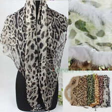 Fashion Lady's Leopard Rabbit fur Triangle Scarf Soft Georgette Shawl Silk Wrap