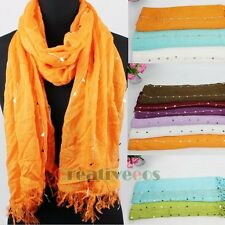 Cotton With Sequins Fringe Edge Scarf Shawl Beach Wrap Many Pretty Solid Colors