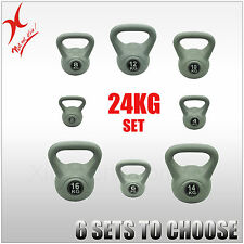 24KG SILVER KETTLEBELL WEIGHT SET - HOME GYM TRAINING KETTLE BELL EXERCISE - XIN