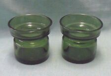 vintage lot 2 DANSK Green Glass bulb vases Candle holders mid-century Denmark