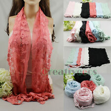 Vintage Floral Nets Lace Mantilla With Handmade Crochet Trim Long Scarf Shawl