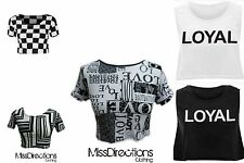 New Womens Girls Sexy Crop Top Ladies Short Sleeve Stretch Vest T Shirt Size S-M