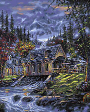 Cottage & Church In Valley Needlepoint Canvas