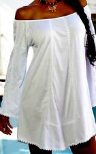 "Pima Cotton Embroidery Lace""Maitte""  Bell Long Sleeves Tunic Top"