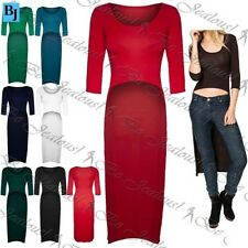 Womens Hi Lo Back Stretchy Crop Top Ladies Fishtail Dipped Hem Long Midi Dress