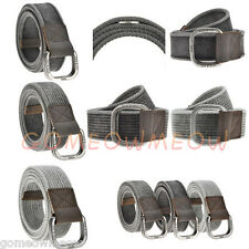 Mens Boys 100% Cotton Canvas Belt Double D Ring Metal Buckle Leather Waistband