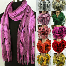 Fashion 2 Tone  Hollow-Out Long Scarf Tassel/1-Loop Infinity Cowl Eternity Scarf