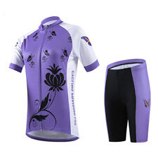 Purple Ladies Cycling Set Road Bike Clothing Women's Cycle Jersey and Shorts Kit