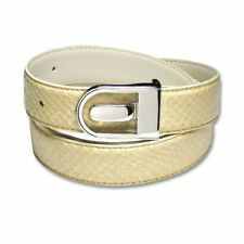 Men's Snake Skin Belt CREAM Genuine SnakeSkin Mens Bonded Leather Belt & Buckle