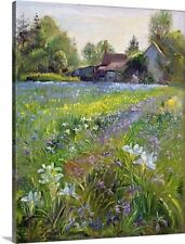 Dwarf Irises and Cottage, 1993 by Timothy Easton Painting Print on Canvas