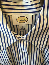 Talbots Blue White Striped Wrinkle Resistant Button N Long Sleeve Blouse sz4