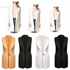 Women Chic Notch Turn down Collar Slim Long Vest Waistcoat Tops Sleeveless Suit