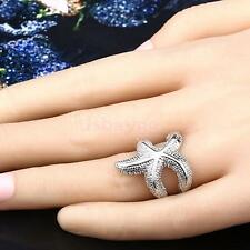 Fashion Women Men silver Plated Starfish Shape Finger Ring US size 9/8/7