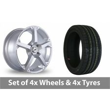 """4 x 17"""" BK Racing 300 Silver Alloy Wheel Rims and Tyres -  225/45/17"""
