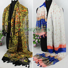 Women's Vintage Style Totem/Floral Floral Print Tassel Long Scarf Wrap Shawl New