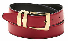 Reversible Belt Bonded Leather Removable Gold-Tone Buckle APPLE RED / Black