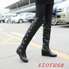 Women Hidden Wedge Heel Over Knee High Boots Shoes Pull On Knight Boots SZ 34-47