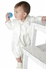 Boys Christening Romper 2 Piece Suit Paisley White or Ivory sizes to 24 Months