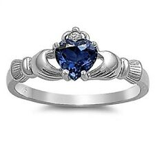 Irish Claddagh Jewelry: 925 Sterling Silver Synthetic Blue Sapphire Heart Ring