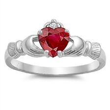 Claddagh Ring 925 Sterling Silver AAA Quality Ruby CZ Heart Promise Ring