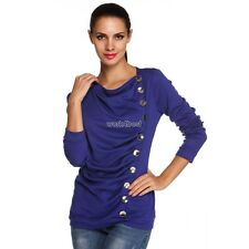 ANGVNS Ladies Women Pleated O-neck Long Sleeve Solid Top Blouse WST