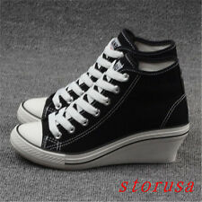 Women Gilr Wedge Heel Hi Top Canvas Shoes Sneakers Shoes Lace Up Casual Size New
