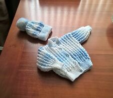 new hand knitted baby cardigan and hat set 0-3