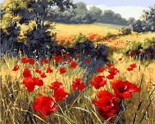 Red Corn Poppy Field Needlepoint Canvas