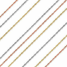 1mm Thick Rope Chain 14k Solid Yellow Rose White Gold