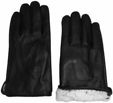 NICE CAPS Mens Adults Genuine Leather Driving Winter Gloves With Tucked Trim