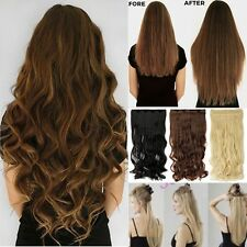 100% Natural Thick 3/4 Full Head Clip In Hair Extensions Curly Wavy Straight FG5