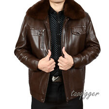 Mens Real Fur Collar Thicken Fleece Jacket PU Leather Parka Outwear Coat Jacket