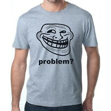 TROLL FACE PROBLEM? MEME INTERNET KULT FUN LOGO UNISEX GREY T-SHIRT SIZE S-3XL