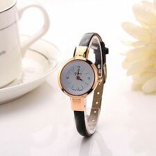 Ladies Thin Leather Strap Watch Quartz Crystal Diamond Bracelet Dress Wristwatch