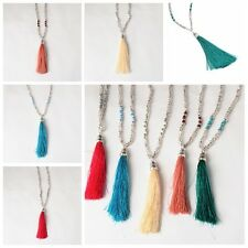 1PC Hot Bohemian Beaded Tassel Pendant Necklace Long Sweater Chain Jewelry Hippy