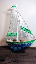 VINTAGE METAL & GLASS SAILBOAT TEA LIGHT CANDLE HOLDER HOME & GARDEN NAUTICAL