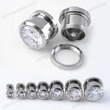 Pair Clear CZ Gem Stainless Steel Punk Ear Gauge Expander Plugs Tunnel Stretcher