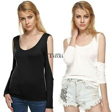 Women Backless Slim Tops Bottoming Shirt Off-shoulder Cross Long Sleeve TXCL