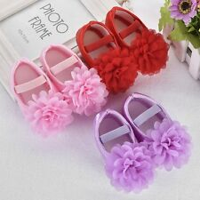 New Baby Shoes Infant Girl Bowknot Flower Soft Sole Crib Shoes Size 0-12 Month