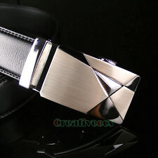 Men's Luxury Genuine Leather Adjustable Automatic Lock Buckle Waist Strap Belt
