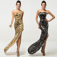 New Sequin Sexy Women Split Evening Party Prom Dress Backless Luxury Formal Gown