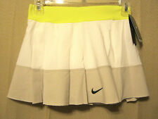 NIKE Dri-Fit Stay Cool Womens Pleated Tennis Skort,XS White/Gray/Neon,NEW $55