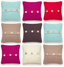 Luxury Chunky Knit Cushion, Cosy Soft Knitted Button Cushions, 45 x 45 cm