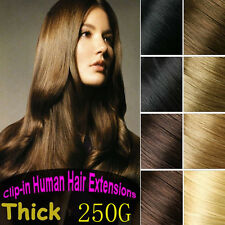 250g 12pcs 100%Real Human Hair Remy Clip In Hair Extensions 16''~26'' Full Head
